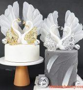 Set thiên nga trắng trang trí bánh kem