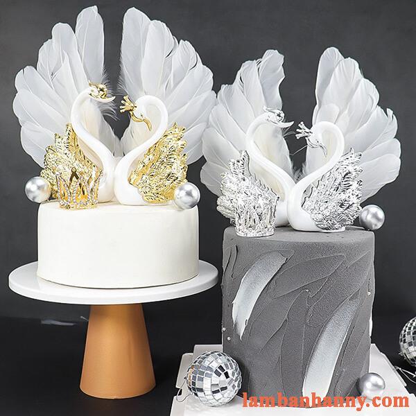 set thiên nga trắng trang trí bánh kem 2